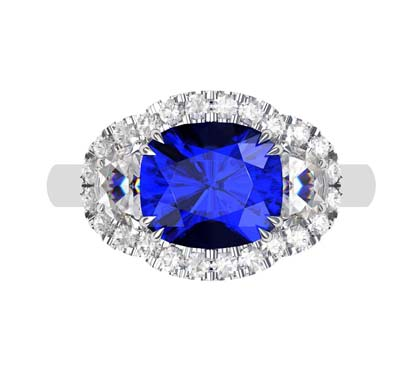 3 Carat Cushion Cut Sapphire Three Stone Halo Engagement Ring 2 2