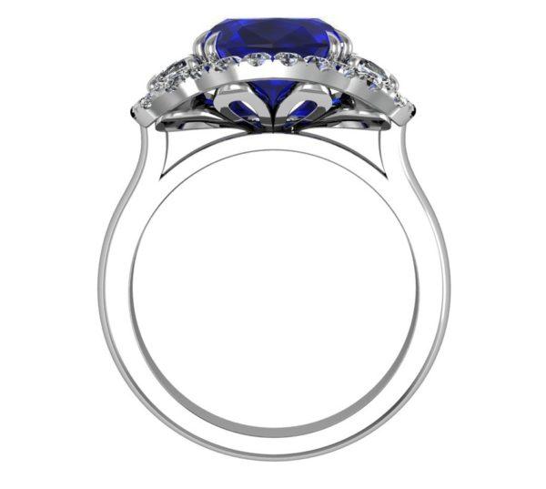 3 Carat Cushion Cut Sapphire Three Stone Halo Engagement Ring 3 2