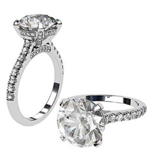 3.5Ct Diamond Ring with Diamond Set Claws and Band 1 2