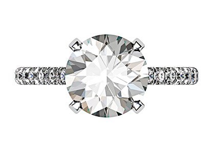 3.5Ct Diamond Ring with Diamond Set Claws and Band 2 2