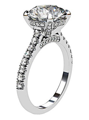 3.5Ct Diamond Ring with Diamond Set Claws and Band 4 2