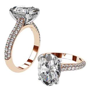 3Ct Oval Cut Diamond Ring with Rose Gold Micro Pave Set Band 1 2