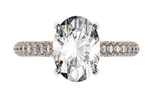 3Ct Oval Cut Diamond Ring with Rose Gold Micro Pave Set Band 2 2