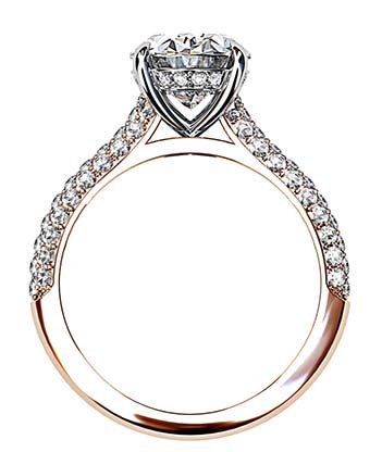 3Ct Oval Cut Diamond Ring with Rose Gold Micro Pave Set Band 3 2