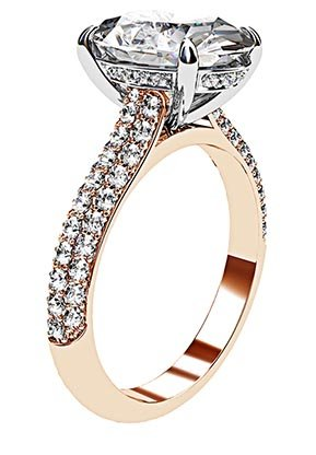 3Ct Oval Cut Diamond Ring with Rose Gold Micro Pave Set Band 4 2