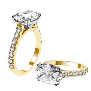 3Ct Oval Diamond Ring Set in Yellow Gold 1 2