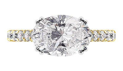 3Ct Oval Diamond Ring Set in Yellow Gold 2 2