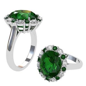 4Ct Columbian Emerald and Diamond Cluster 1 2