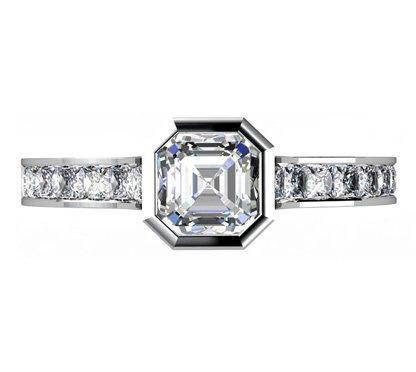 Asscher Cut Bezel Set Diamond Engagement Ring with Channel Set Diamond Band 2 2