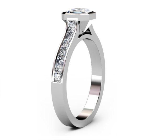 Asscher Cut Bezel Set Diamond Engagement Ring with Channel Set Diamond Band 4 2