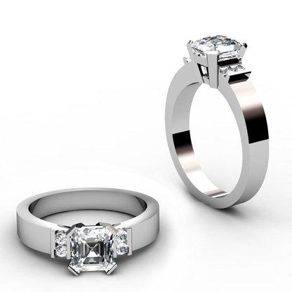 Asscher Cut Diamond Engagement Ring with Flat Metal Band 1 2