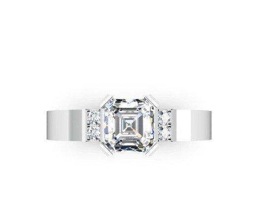 Asscher Cut Diamond Engagement Ring with Flat Metal Band 2 2