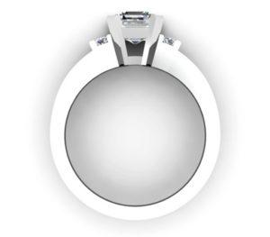 Asscher Cut Diamond Engagement Ring with Flat Metal Band 3 2