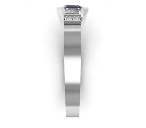 Asscher Cut Diamond Engagement Ring with Flat Metal Band 5 2