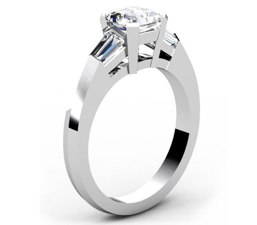 Asscher Cut Diamond Engagement Ring with Knife s Edge Band 4