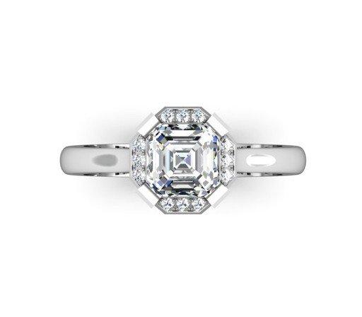 Asscher Cut Diamond Halo Engagement Ring 2 2
