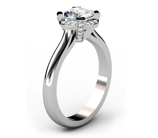 Asscher Cut Diamond Halo Engagement Ring 4 2