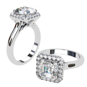 Asscher Cut Diamond Halo Engagement Ring with Diamond Accented Basket 1 2