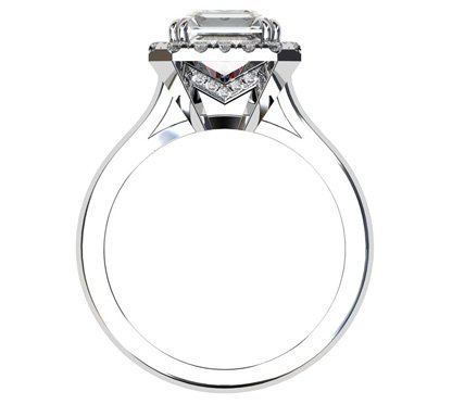 Asscher Cut Diamond Halo Engagement Ring with Diamond Accented Basket 3 2