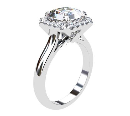 Asscher Cut Diamond Halo Engagement Ring with Diamond Accented Basket 4 2
