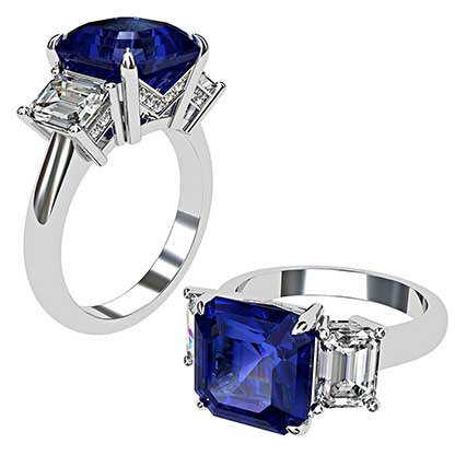 Asscher Cut Sapphire and Diamond Three Stone Engagement Ring 1 1
