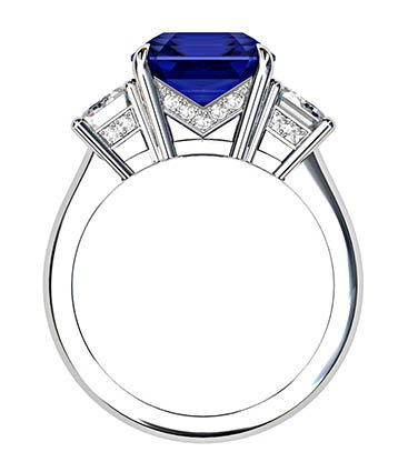 Asscher Cut Sapphire and Diamond Three Stone Engagement Ring 3 1