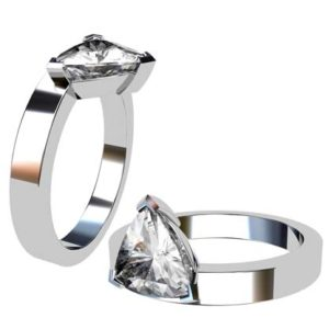 Assymetrical Pear Cut Diamond Engagement Ring with Flat Band 1 2
