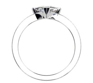 Assymetrical Pear Cut Diamond Engagement Ring with Flat Band 3 2