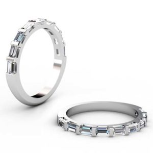 Baguette End Set Diamond Wedding Band 1