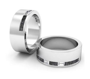 Baguette and black diamond mens wedding ring 1