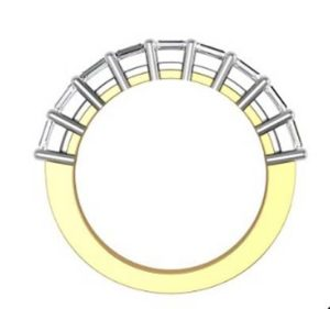 Baguette claw set diamond wedding ring 3