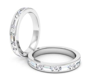 Baguettte and round brillaint cut diamond channel set ring 1