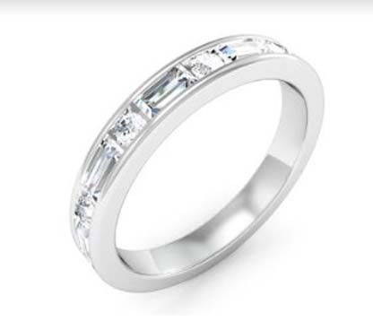 Baguettte and round brillaint cut diamond channel set ring 4