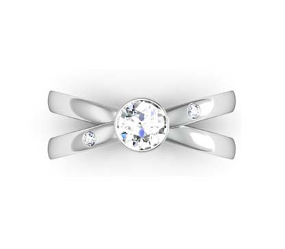 Bezel Set Diamond Engagement Ring with Cross Over Band 2 2