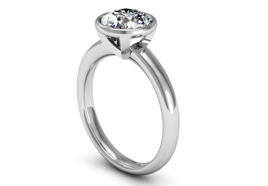 Bezel Set Solitaire Diamond Engagement Ring 4 2