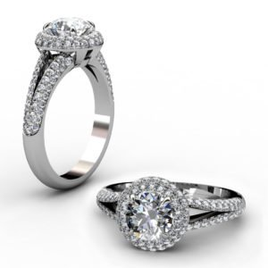 Brilliant Cut Diamond Micro Pave Set Halo Engagement Ring 1 2