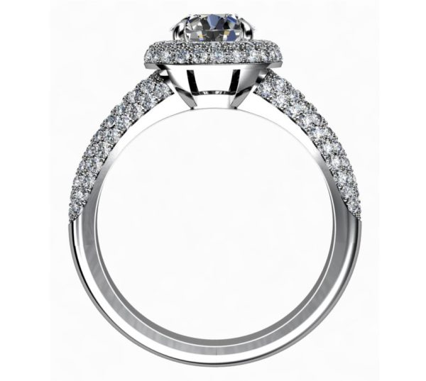 Brilliant Cut Diamond Micro Pave Set Halo Engagement Ring 3 2