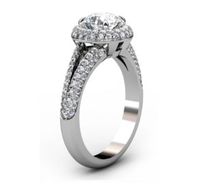 Brilliant Cut Diamond Micro Pave Set Halo Engagement Ring 4 2