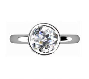 Brilliant Cut Diamond Petal Bezel Set Engagement Ring with Filigree Detailing 2 2