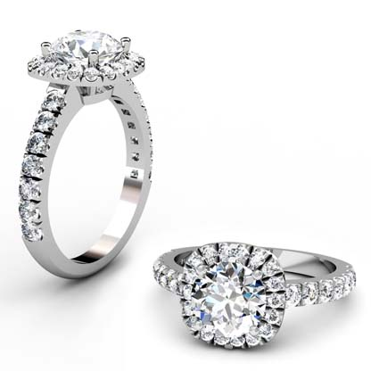 Brilliant Cut Diamond Square Halo Engagement Ring 1 2