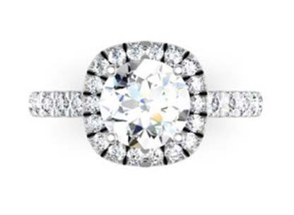 Brilliant Cut Diamond Square Halo Engagement Ring 2 2