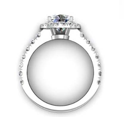 Brilliant Cut Diamond Square Halo Engagement Ring 3 2