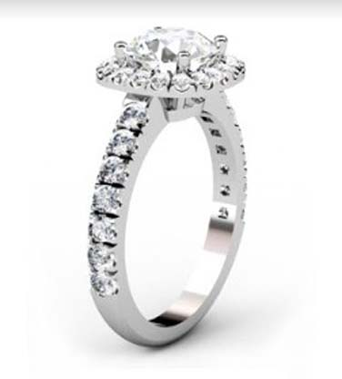 Brilliant Cut Diamond Square Halo Engagement Ring 4 2