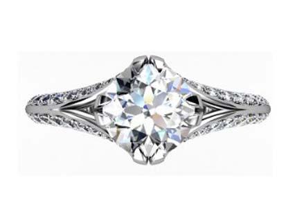 Brilliant Cut Round Diamond Engagement Ring with Split Shank 2 2