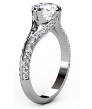 Brilliant Cut Round Diamond Engagement Ring with Split Shank 4 2