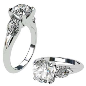 Brilliant Cut Round Diamond Three Stone Engagement Ring 1 2