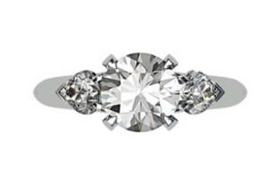 Brilliant Cut Round Diamond Three Stone Engagement Ring 2 2