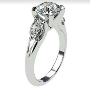 Brilliant Cut Round Diamond Three Stone Engagement Ring 4 2