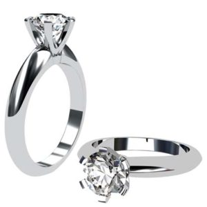 Brilliant Cut Round Solitaire Diamond Engagement Ring with Six Prongs 1 2