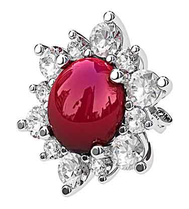 Cabochon Ruby with Diamond Petal Earrings 2 2